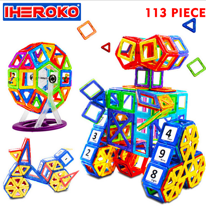 113pcs DIY Magnetic Construction Pieces Building Blocks Educational Set 3D Plastic Model Kits Educational Toys For