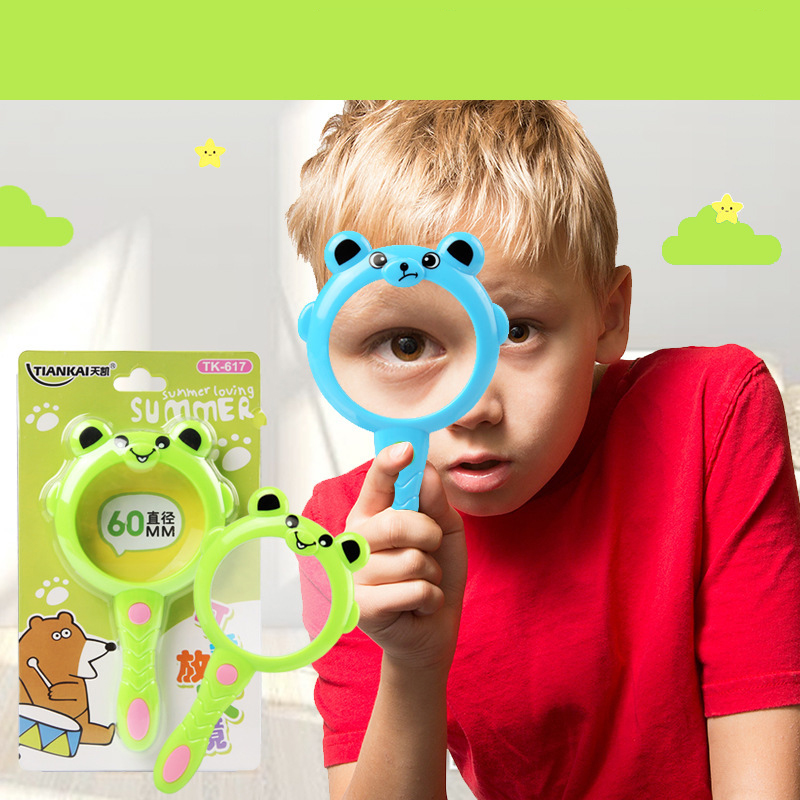 Toy Magnifier Cartoon bear Handheld Magnifying Glass Children Boys Girls Gift Present Summer Loving Explorer Green Blue Pink in Magnifiers from Tools