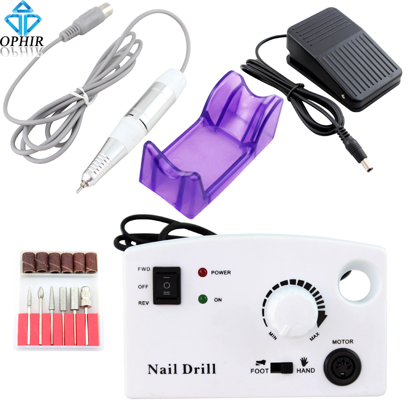 OPHIR Pro Electric Nail Drill Machine 30000RPM White Pedicure Manicure Machine Nail Art Equipment File Bits Kit Nail Tools_KD146 red nail tools electric nail drill machine 30000rpm nail art equipment manicure kit nail file drill bit sanding band accessory