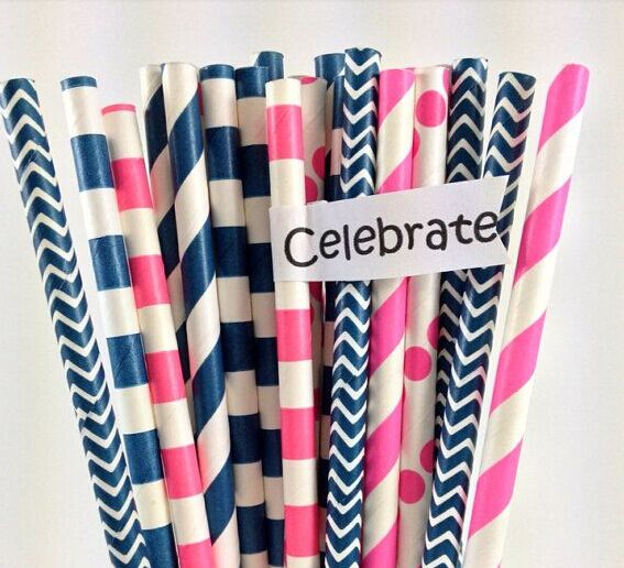 Free Ship 200 Navy & Pink Girl's Nautical Mix Paper Straws kid's party, Birthday, Wedding Party Favor Drinking Straw