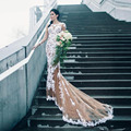 Rustic Lace Nude Color Mermaid Wedding Dresses Full Sleeves Button Bridal Dress Sexy Custom Made Applique 2017 Vestido De Noiva