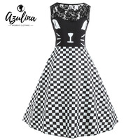 AZULINA Plus Size 5XL Vestidos Mujer Kitten Pattern Checked 50s Vintage Dress Women Cute Lace Panel