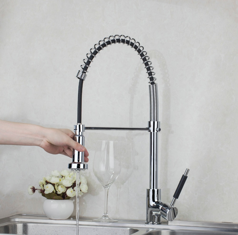 Fashion 540mm Chrome Single Hole Brass Kitchen Pull Out Down With Push Button Swivel Vessel Sink