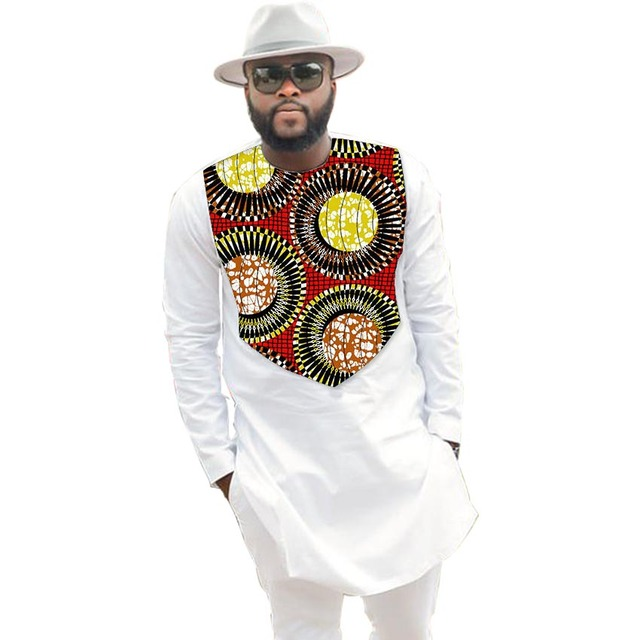 809f80f53ed Fashion African Men Tops Fashion Male Dashiki Clothes Print And White Long  Sleeve Man T shirt O-neck African Clothing