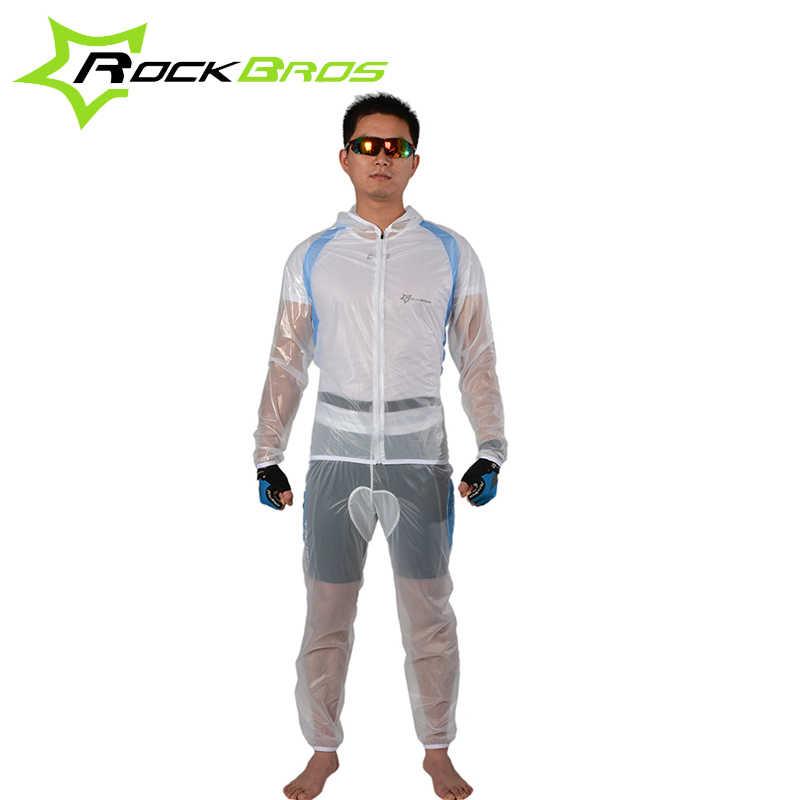 ROCKBROS Sepeda Sepeda Bersepeda Transparant Hooded Raincoat Set Windproof Tahan Air Pria Jas Hujan Sesuai dengan Yg Tahan Hujan Sepatu Penutup