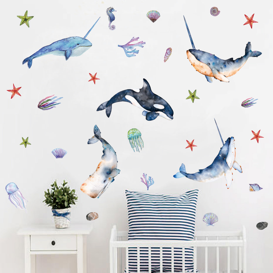 Beautiful Whale with Angle Undersea Wall stickers Room Decor Art Vinyls Decals for Children Kids Bedroom Living Room Home Mural (8)