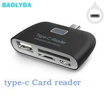Baolyda قارئ بطاقات 4in1 وتغ/TF/SD الذكية قارئ بطاقات صغيرة نوع C محول USB/المصغّر USB تهمة الهاتف ميناء كومبو قارئ بطاقات