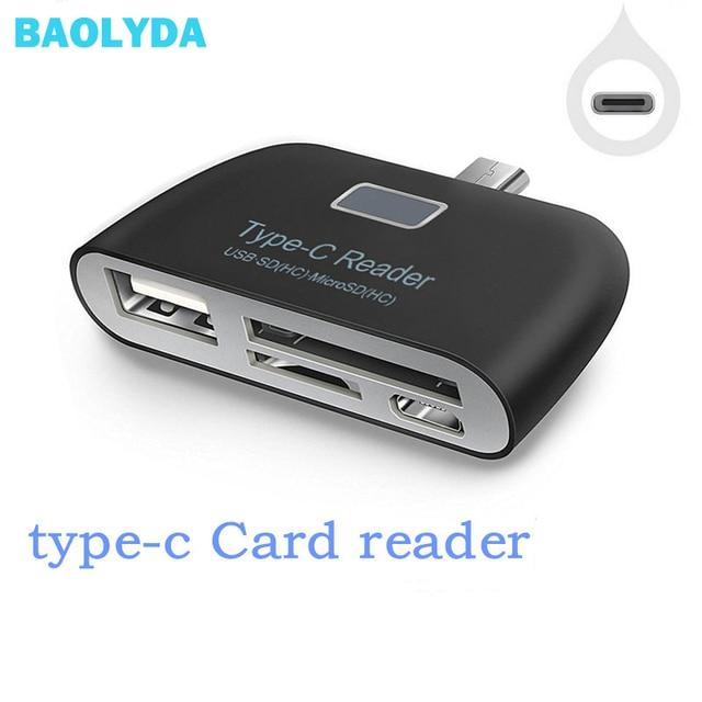 Baolyda 카드 판독기 4in1 otg/tf/sd 스마트 미니 카드 판독기 유형 c 어댑터 usb/마이크로 usb 충전 전화 포트 콤보 카드 판독기