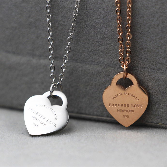 fashion jewelry Stainless steel with forever love heart Brand choker DIY necklace font b Christmas b