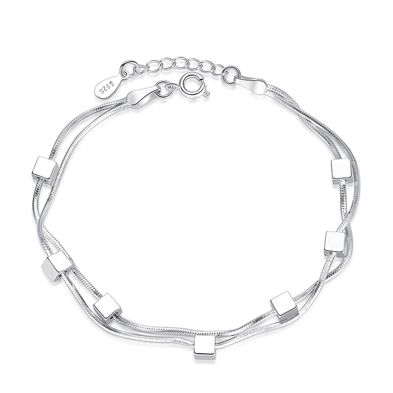 Fashion Korea Bracelet Solid 925 Sterling Silver Jewelry Female Simple Plain Silver Chain Link Bracelet Cute Gift for Girlfriend