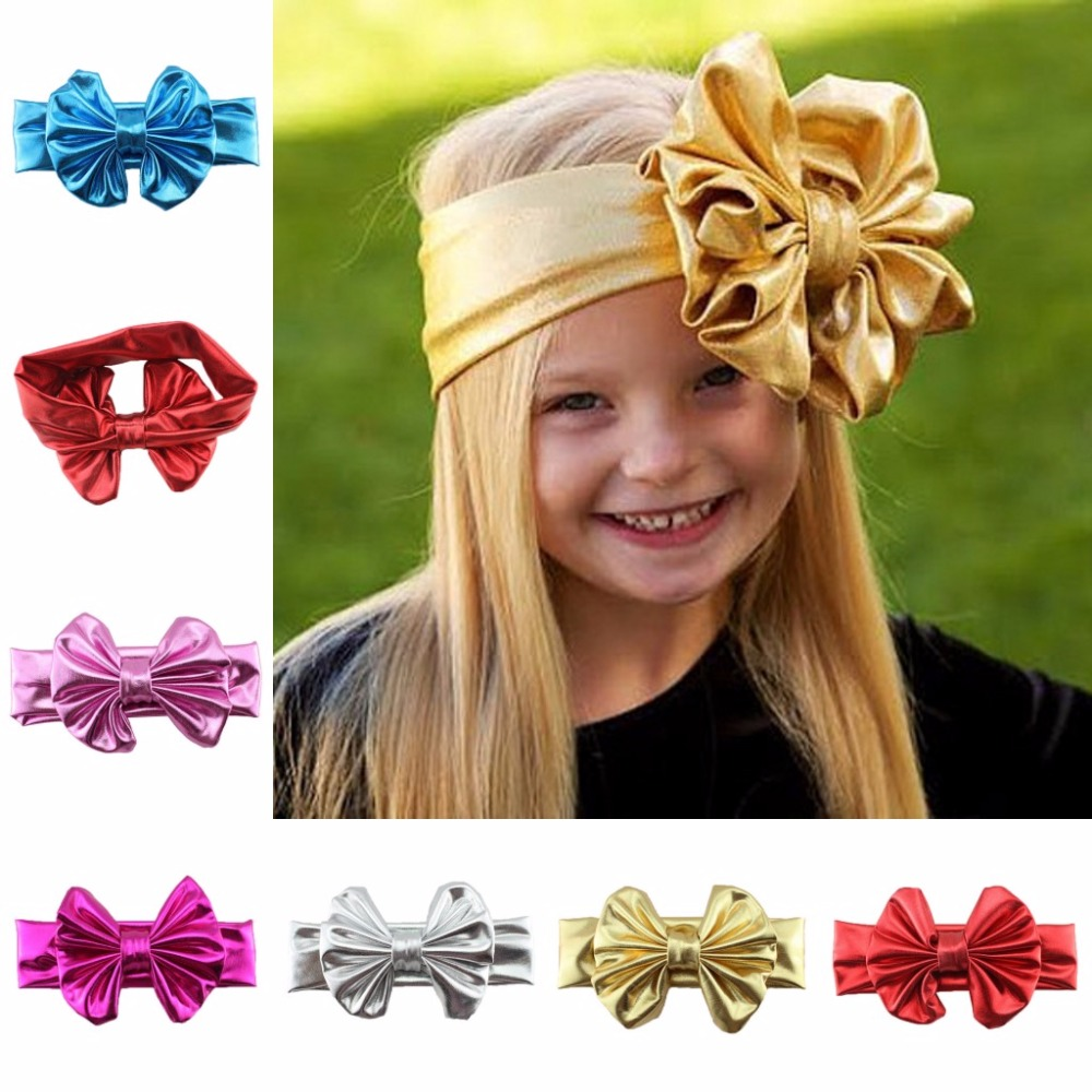 Children Hair Decorate Gilding Will Bow Baby Hair hair bows toddler headbands Bronzing bow headband hairbow baby gift popular in europe and america children wear hair knotted cotton big bow tie children hair baby hair headband