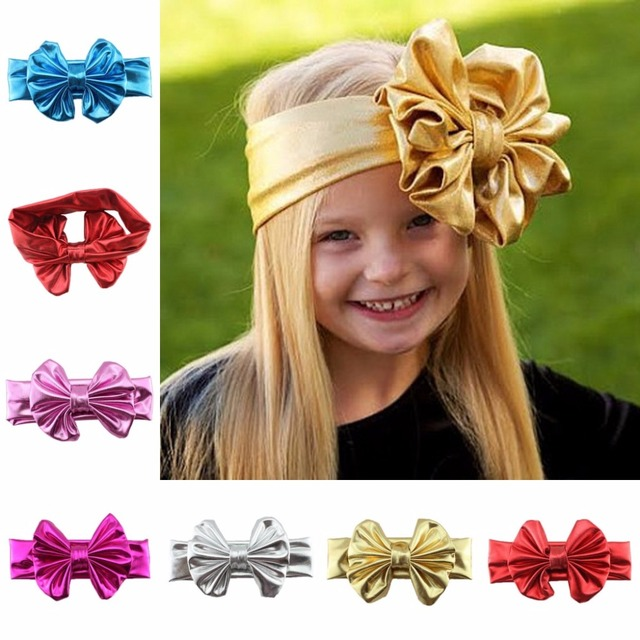 Children Hair Decorate Gilding Will Bow Baby Hair hair bows toddler  headbands Bronzing bow headband hairbow 6e685cd230e