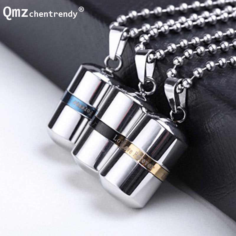 openable High quality Love forever Stainless Steel Cremation Pets Ash Capsule Pendants Necklace Pills Shape Keepsake Urn Jewelry