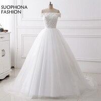 Fashion White Ball gown Wedding dress Plus size Vestido de noiva casamento Trouwjurk Sexy bride dress vestido de casamento