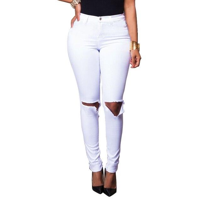 9b07fbe42316 Stretch Jeans Femme Denim Capri Knee Ripped Jeans For Women 2018 Spring  Woman White Destroyed Jeans Feminino Pencil Pantalon