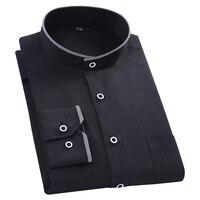 Mandarin Collar Mens Business Formal Shirt Men Solid Color Dress Shirt White Black