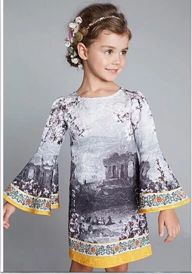 2016 Top Quality Europe Style Kids Dresses  The European and American wind   Dress For Girl Luxury  Girls Clothes HB1089 100% real photo brand kids red heart sleeve dress american and european style hollow girls clothes baby girl clothes