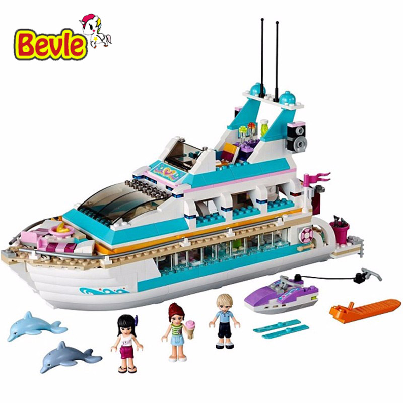 Bela 10172 618Pcs Friends Series Girls Large Yacht Club Cruise Building Block Bricks Toys Compatible Legoings Friends 41015 active random floral print high waisted tracksuit in pink