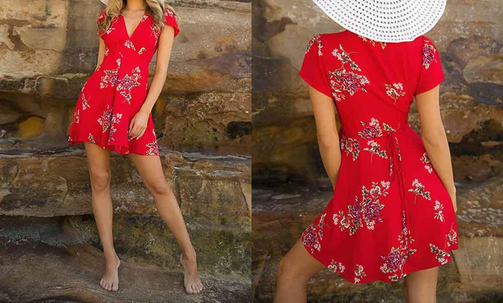 2019 Summer Dress Women Sleeveless Short Sexy Beach Dress Elegant Fashion Party Wrap Dress (2)