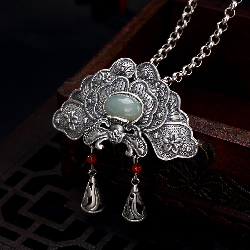 b3683a69dba S925 pure silver natural Hetian jade white jade South Red Mosaic peony  flower lady sweater chain pendant wholesale