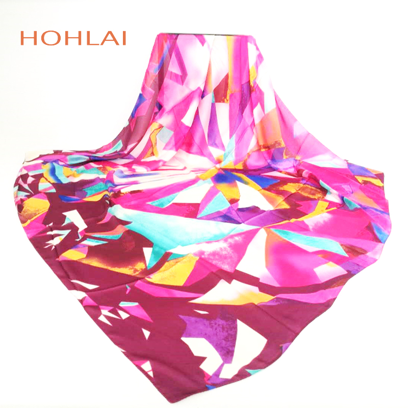 Women 100% Natural Silk Scarf Shawl Female Silk Scarves Wraps Thin model Plus Size Shawls Bandana Long Beach Cover-ups 120*120cm