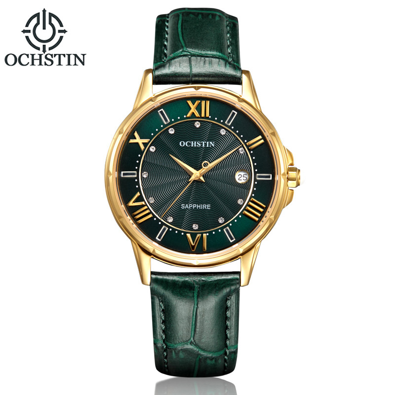 ФОТО OCHSTIN Brand 2017 New Fashion Women Watch Luxury Genuine Leather Diamond Calendar Waterproof Quartz Relojes Mujer Marca De Lujo