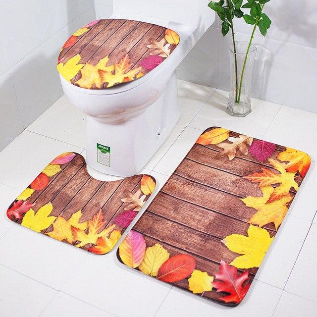 3 шт напольный коврик для туалета набор с Кленовым листом слово картографическая печать крышка унитаза и Пол набор ковриков нескользящий фланелевый ковер для ванной комнаты