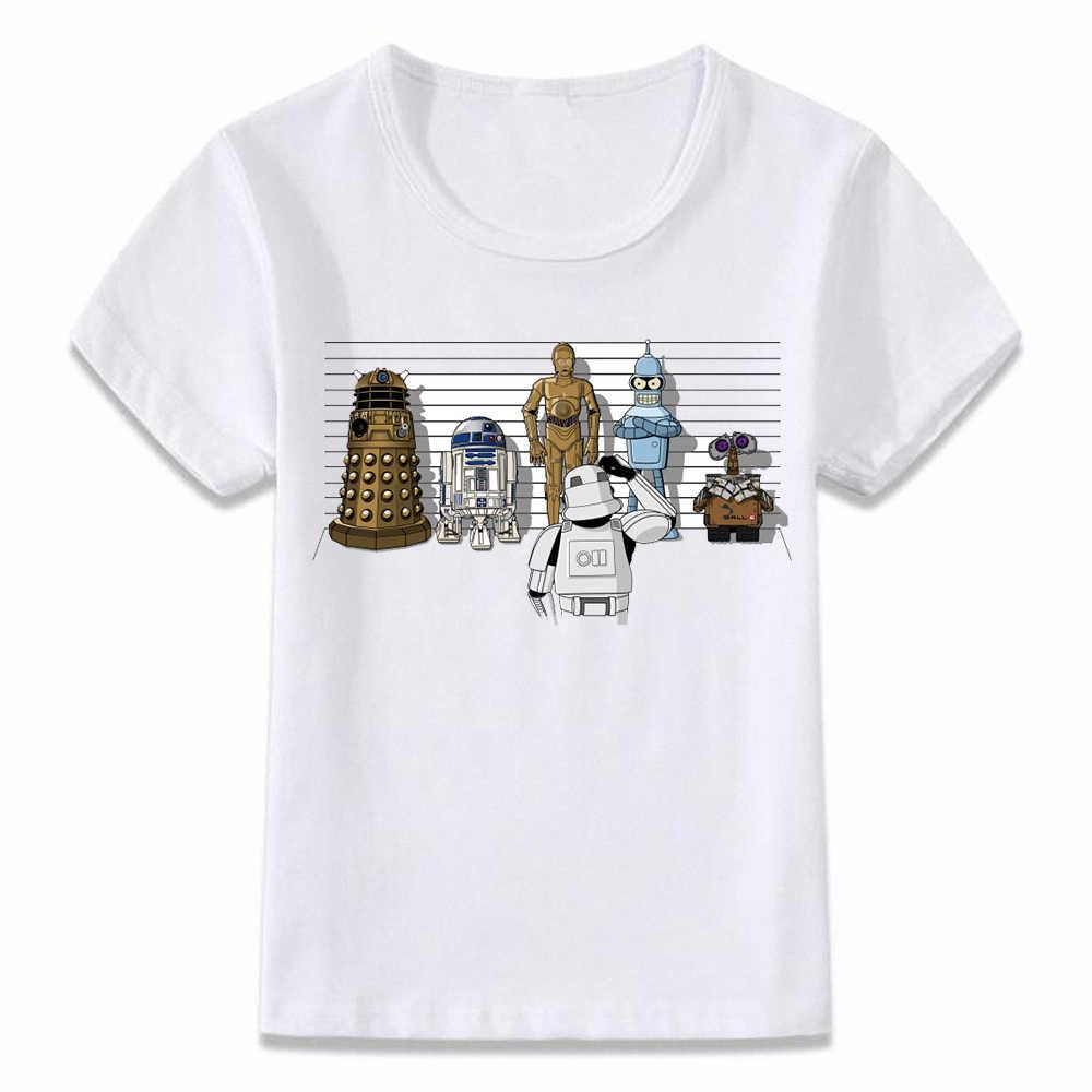 Roupa dos miúdos Camiseta Ruim Linha Robô R2d2 de Star Wars T-shirt Das Crianças para Meninos e Meninas Da Criança Camisas Tee