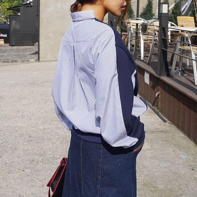 [soonyour] 2017 New Korea retro contrast stripe stitching loose shirt for women wild free shipping wholesale cheap C00765