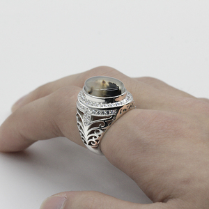 Image 5 - ผู้ชายแหวน 925 เงินสเตอร์ลิงรูปไข่ธรรมชาติหินCZ Hollow Vintage Punkแหวนนิ้วมือสำหรับชายแฟชั่นเครื่องประดับแหวนFine