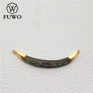 Image 4 - FUWO Natural Abalone Shell Double Loops Pendant With Gold Brass Plated Fashion Personality Long Horn Jewelry For Women PD501