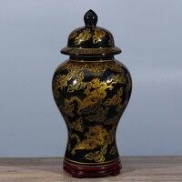Tall large chinese ceramic porcelain vase black gold dragon ginger jar