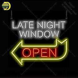 Późna noc okno otwarta strzałka Neon żarówki znak rzemieślnicze światło stojak rekreacja Hotel kultowa lampa neonowa anuncio luminoso w Żarówki i oprawy neonowe od Lampy i oświetlenie na