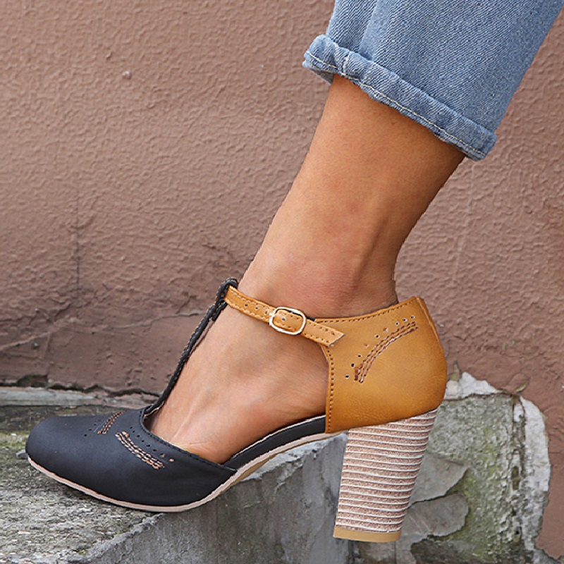 Summer High Heel Women Sandals Wedding Shoes Fashion Rome Round Toe Buckle Strap Sandals Thick Heel Shoes 2019 Zapatos De MujerSummer High Heel Women Sandals Wedding Shoes Fashion Rome Round Toe Buckle Strap Sandals Thick Heel Shoes 2019 Zapatos De Mujer