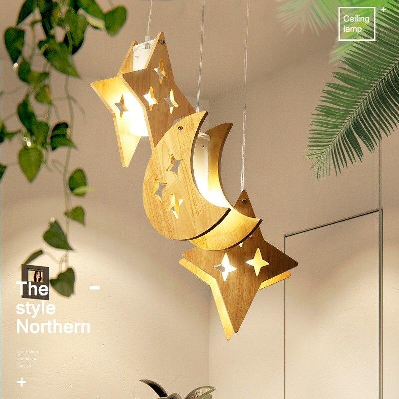 Hout Led Hanglampen Moderne Eenvoudige Keuken Ster Maan Opknoping Lampen Woonkamer Eetkamer Kinderkamer Verlichting Hanglamp