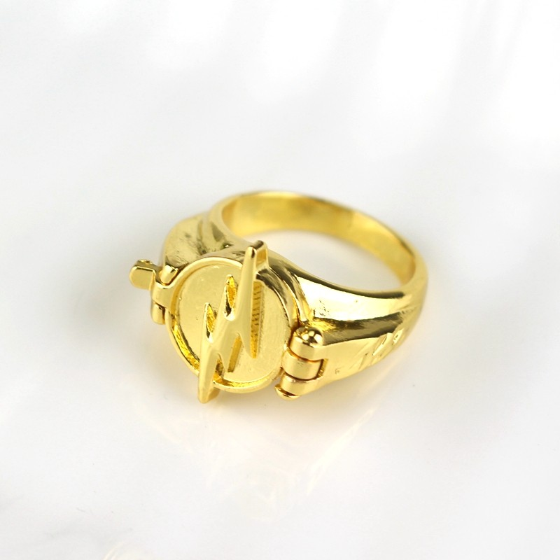 MQCHUN DC Movie Comic The Flash Superhero Ring with Gold Color Flash Lighting Logo Ring Men And Women Jewelry -25 image