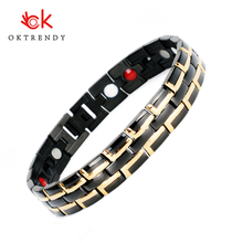 Healing Magnetic Bracelet Men/Woman Stainless Steel Health Care Elements(Magnetic,FIR,Germanium) Gold Hand Chain