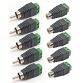 10 pcs Speaker Wire Cable High Quality To Audio Male + Female RCA Connector Adapter Jack Plug Professional