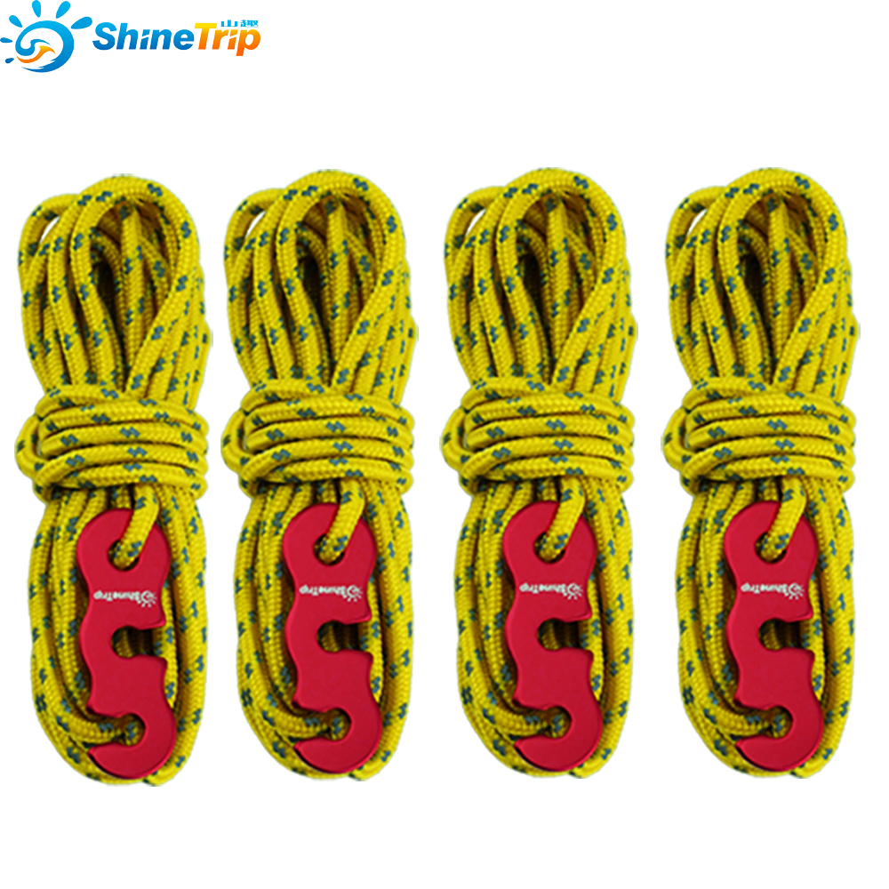 Reflective Wind Rope With Rope Buckle Outdoor Sun Shelter Awning Camping Nightlight Windproof Noose Tent Rope 4psc/set