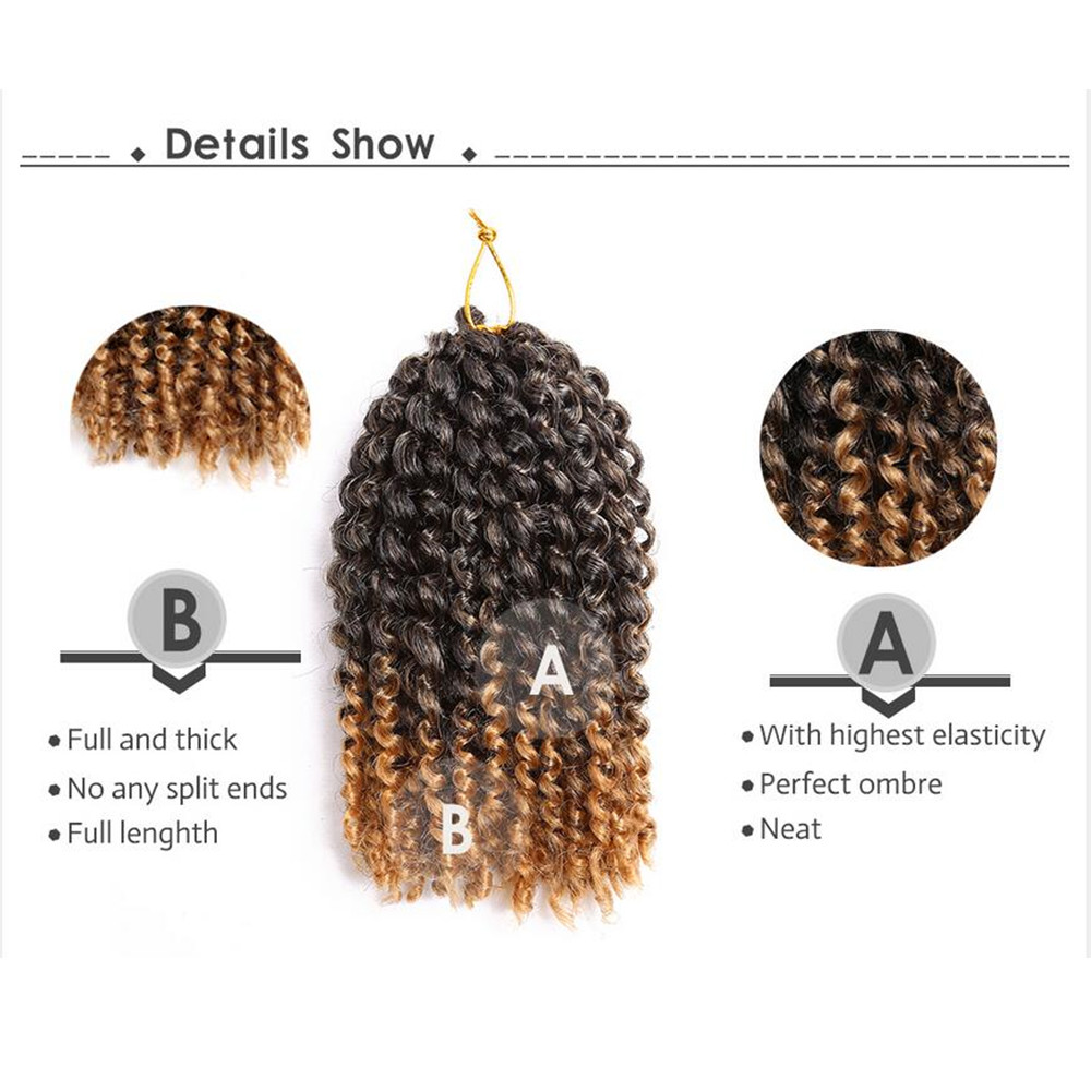 Golden Beauty 8inch Kinky Curly Syntetisk Braiding - Syntetiskt hår - Foto 5