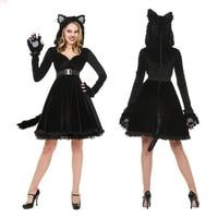 fa0a8a3b0 Black Plush Models Cat Girl Halloween Costume For Women Dress Cosplay  Uniform Club Wear Party New