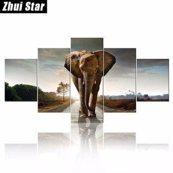 5 шт. 5D DIY Алмазная картина Слон вышивка полный квадратный алмаз вышивка крестиком горный хрусталь мозаика картина домашний Декор подарок >> ZhuiStar Official Store