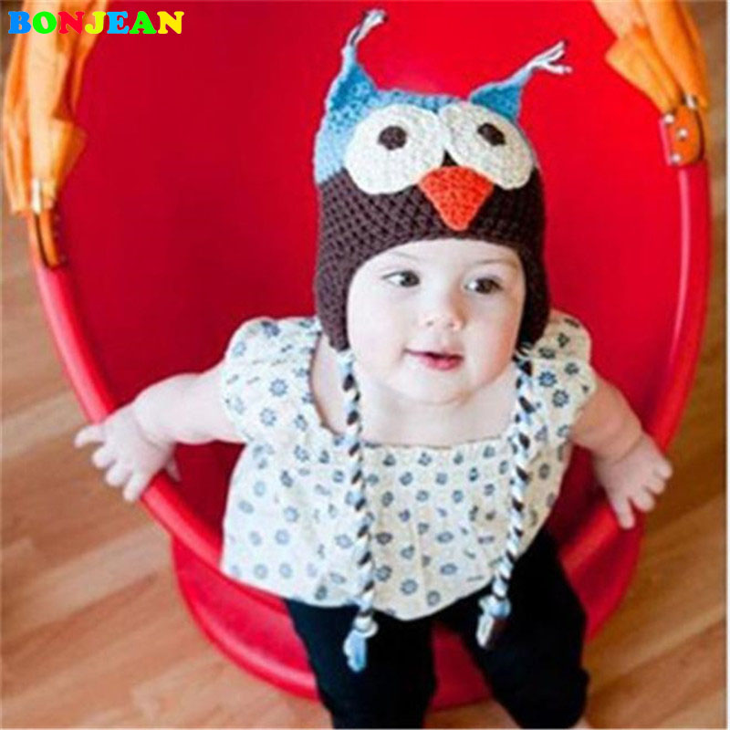 BONJEAN New Lovely Pattern Baby Hat Winter Toddler Owls Knit Crochet Knitted Cap For child kids baby beanies Cotton Hat lovely 4 colors kids baby crochet knit cap knitting winter warm beret hat cap bb75