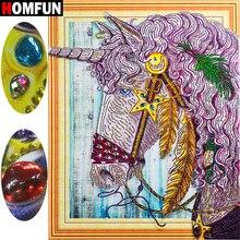 HOMFUN Special Shape Diamond Embroidery Animal unicorn 5D Diy Painting Cross Stitch Rhinestone Home Decor Gift 40x50cm