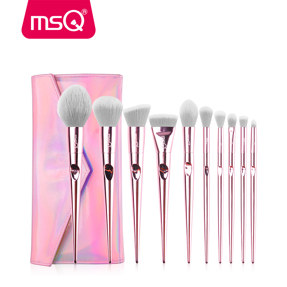 MSQ 10pcs Professional Pink Makeup Brushes Set Foundation Blusher Powder Brush Tools Flat Eyeliner Eyebrow Without Skin Hurt free shipping 3 pp eyeliner liquid empty pipe pointed thin liquid eyeliner colour makeup tools lfrosted purple