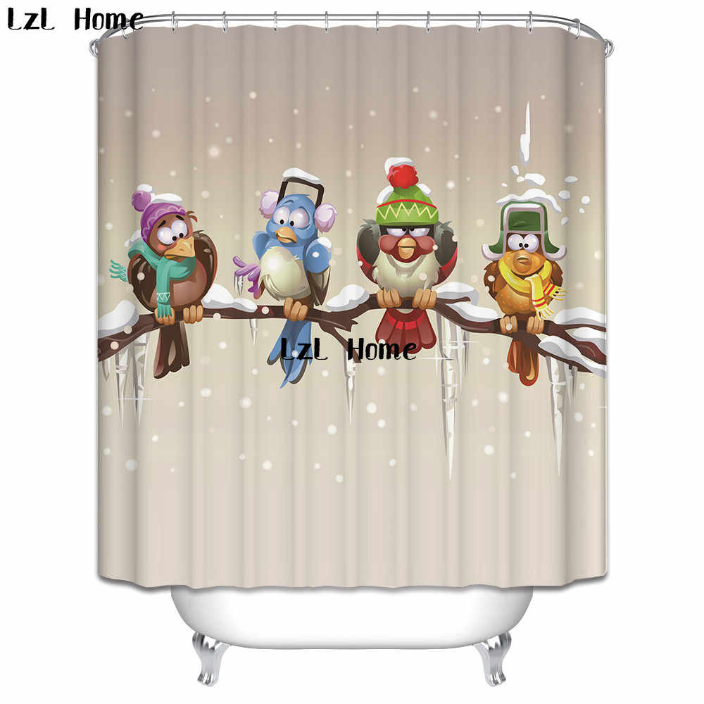 LzL Home Europe Style Eco-friendly Polyester Fabric Shower Curtains Lover Owl Dog Modern Design Bathroom Curtain Waterproof