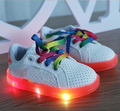 New 2016 European fashion girls boys shoes LED lighted baby sneakers Pu Cool baby shoes free shipping