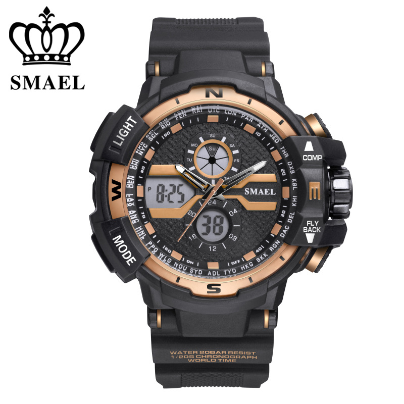 SMAEL Sports Watch for Men 50m Waterproof Wristwatch LED Quartz Watch Baby Clock Big Watches relogio masculino Montre Homme ezon radio wave calibrate time digital men sports watch outdoor casual running swimming waterproof 50m wristwatch montre homme