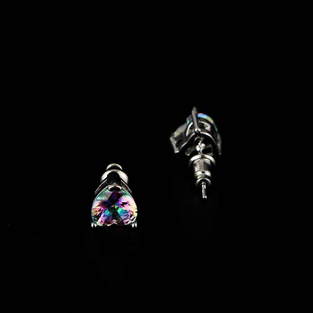 Hot Koop Hoge Kwaliteit Mode Vrouwen 1 paar 3 Kleuren Hart Perzik Vorm Zilveren Opaal Kristallen Oorbellen Bruiloft Sieraden