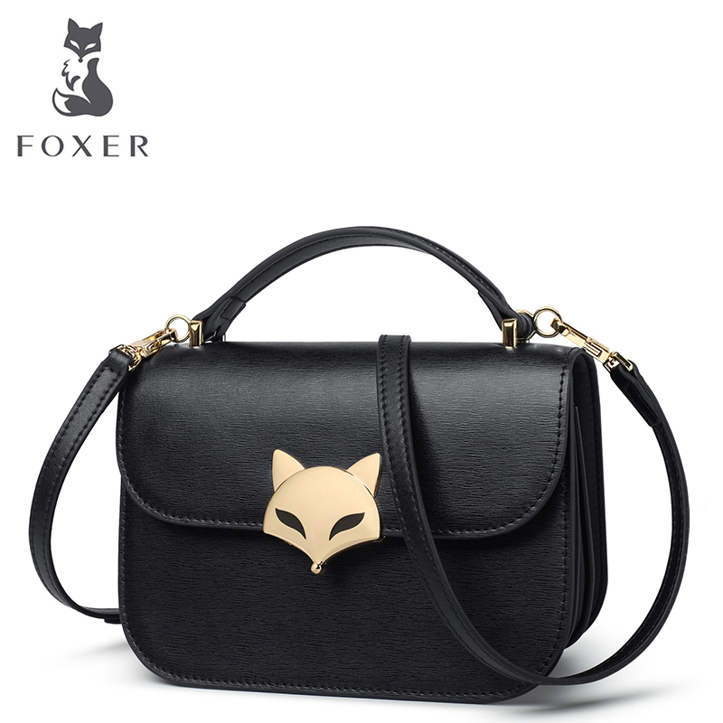 FOXER Brand Women Cow leather Crossbody bag & Shoulder bags Female Messenger Bag New Fashion Women's small bags foxer brand women s bag fashion chain embossing cow leather crossbody bag messenger bag for women female shoulder bags